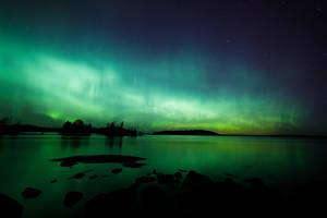 Northern lights glow