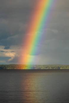 Beautiful rainbow at the lake