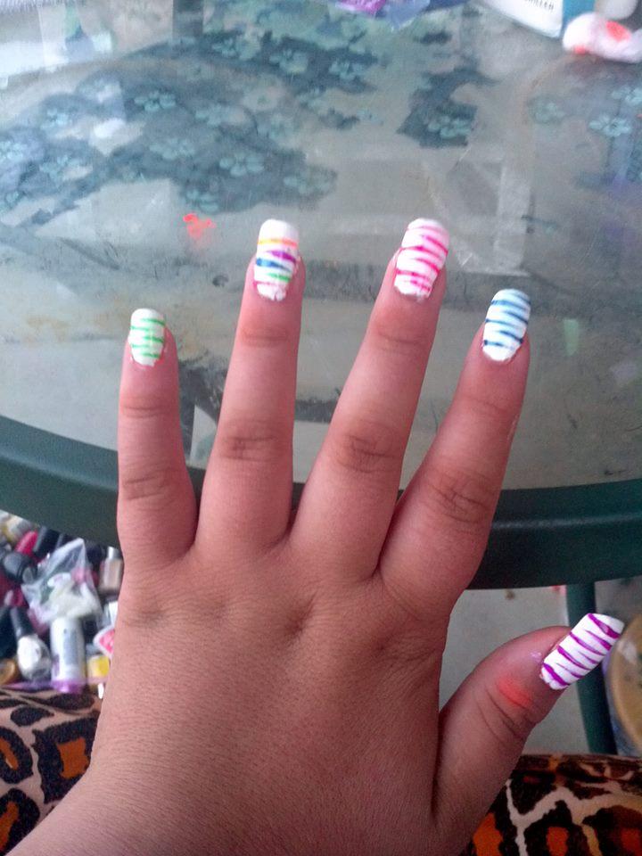 Neon Stripe nails by Catsie95 on deviantART