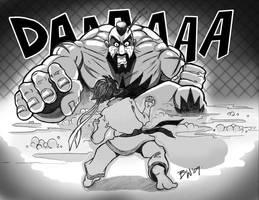 Zangief vs. Makoto by bowbood