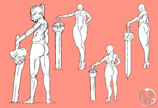 Epic Scull Swordswoman concept - Base