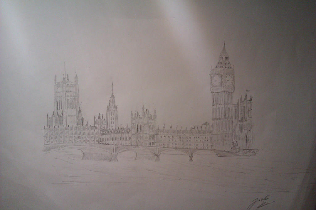 Houses of Parliament Pencil Drawing by JoelKoske