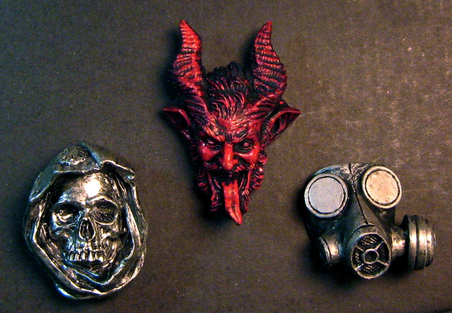 Krampus, Santa Muerte, and Gas Mask magnets by DellamorteCo