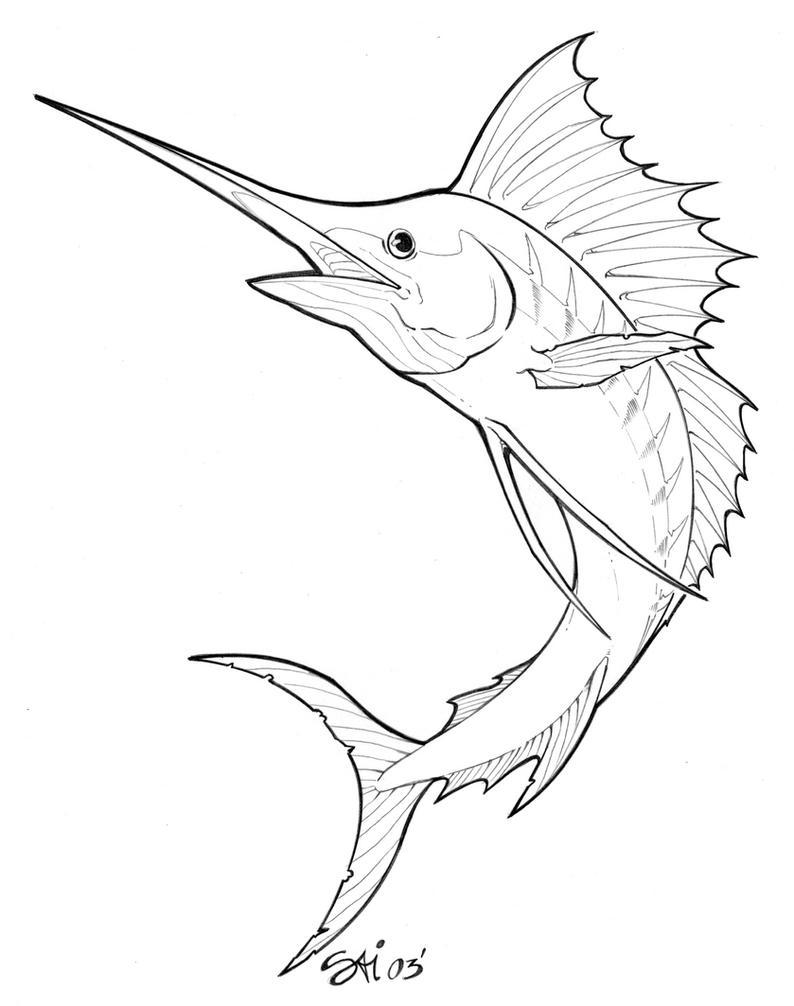 Black Marlin Tattoos Designs