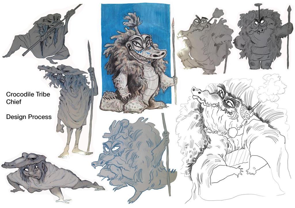 Character Development Design Process : Crocodile chief character design process by d mk tty