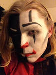Split Harlequin Clown Makeup 1