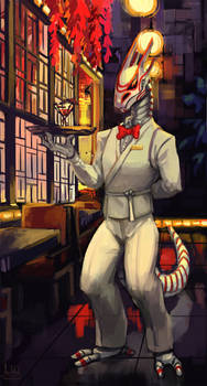 Commission, japanese cyberpunk waiter