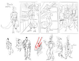 Japanese cyberpunk waiter concept doodles