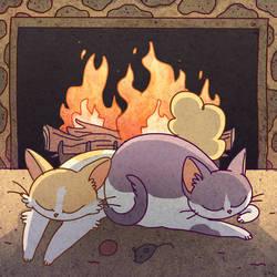 fireplace naps by asmithart