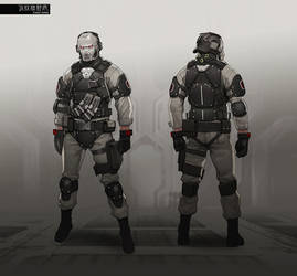 GITS Enemy Soldier concept design sheet.