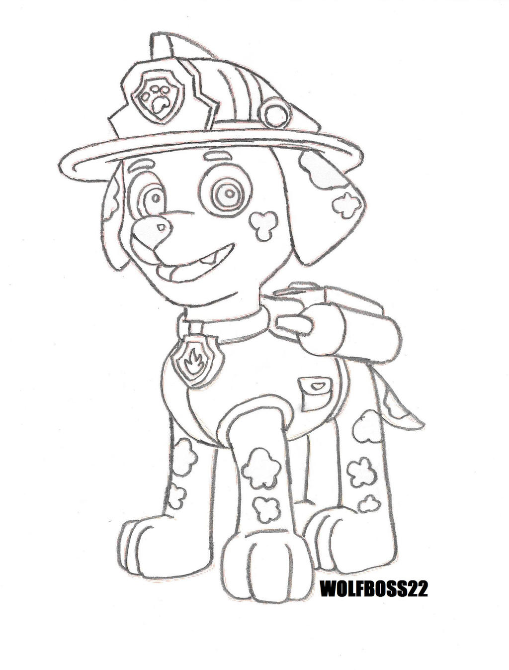 Paw patrol marshall line art by wolfboss22 on deviantart for Marshall paw patrol coloring pages