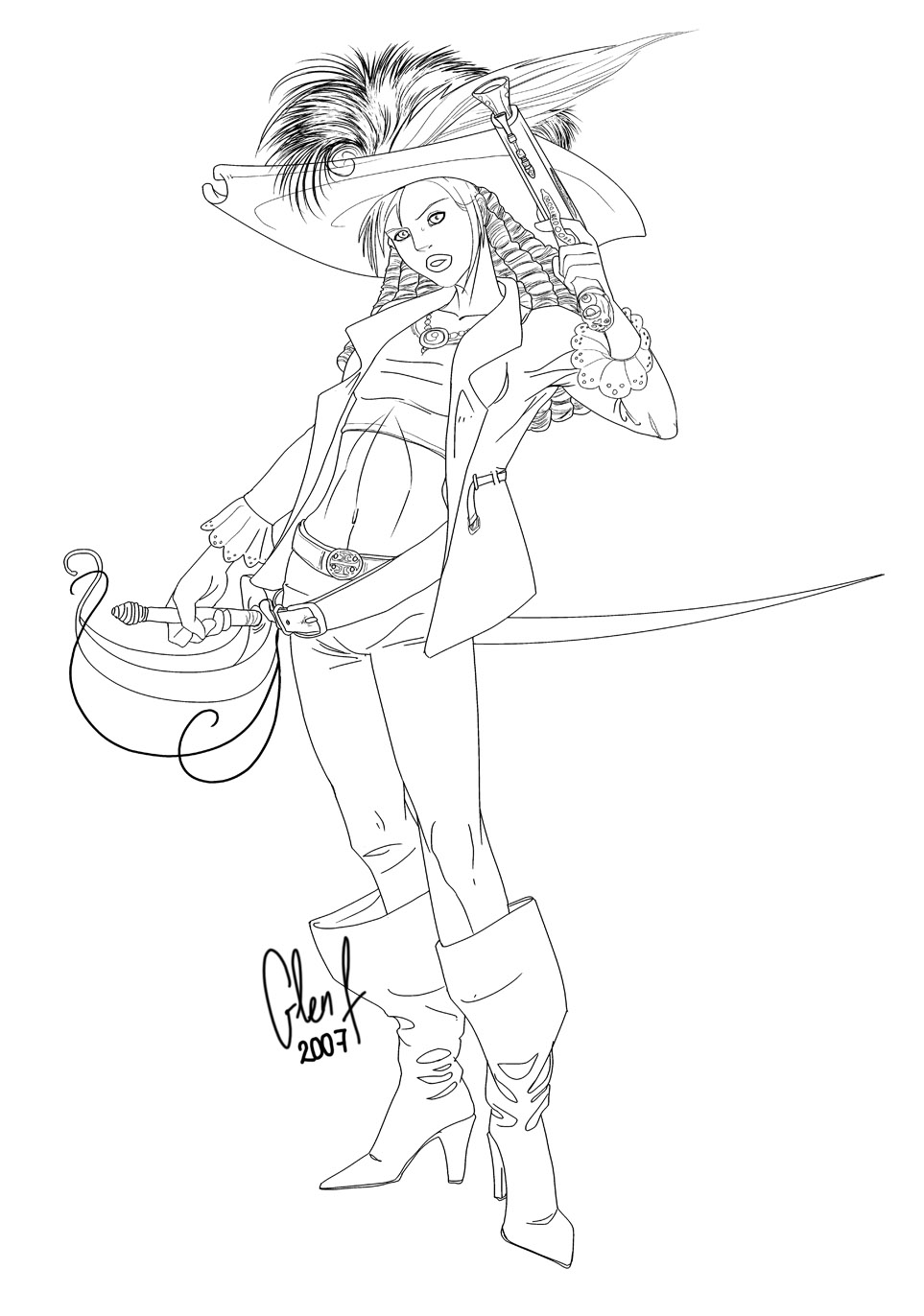 Female pirate drawing - photo#9