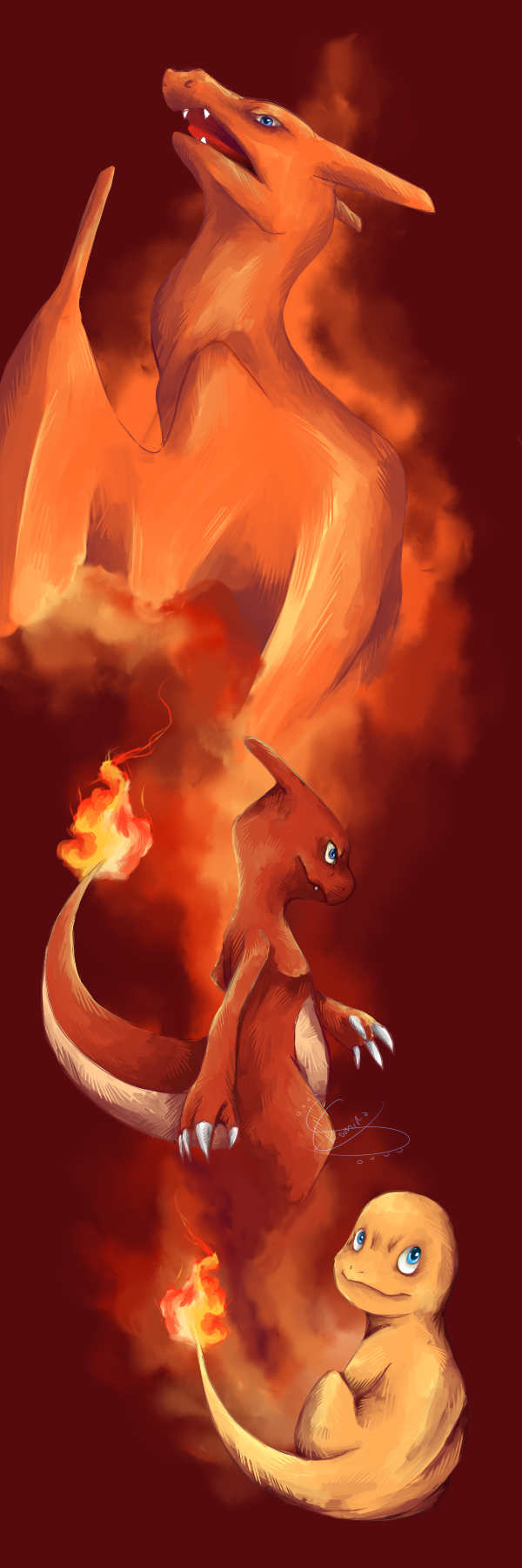 Charmander's evolutions by Ekomira