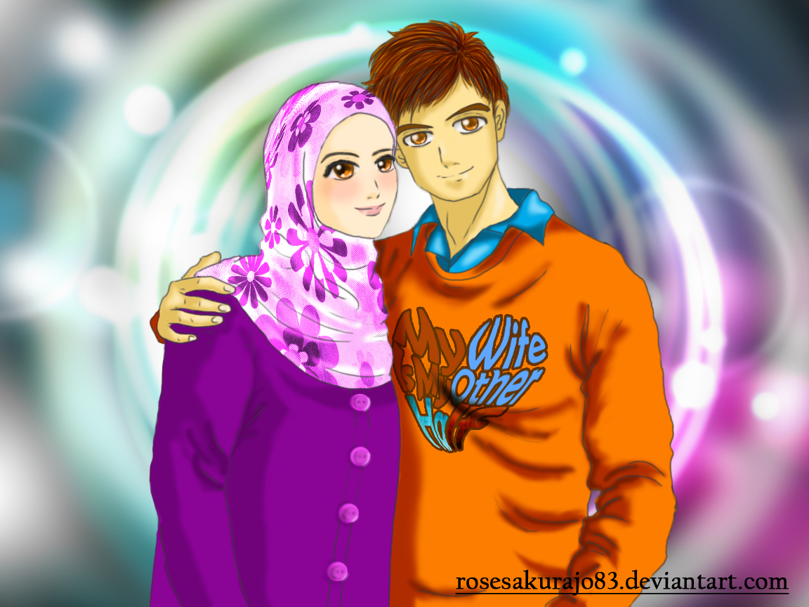 Kumpulan Gambar Animasi Kartun Muslim Berpasangan