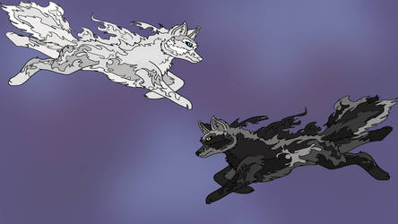 Wolf Fire desktop by SilverandZuko