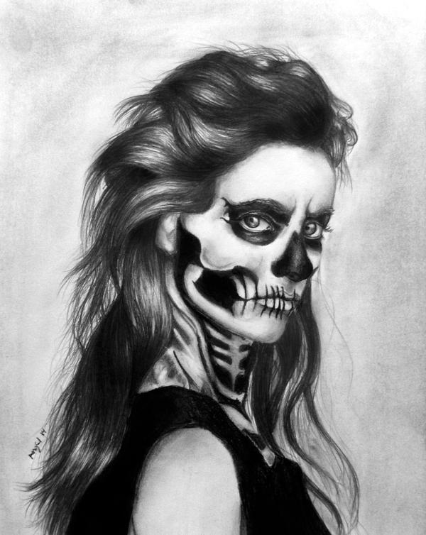 Skeleton Face Line Drawing : Skeleton face graphite drawing by wideyedkitten on