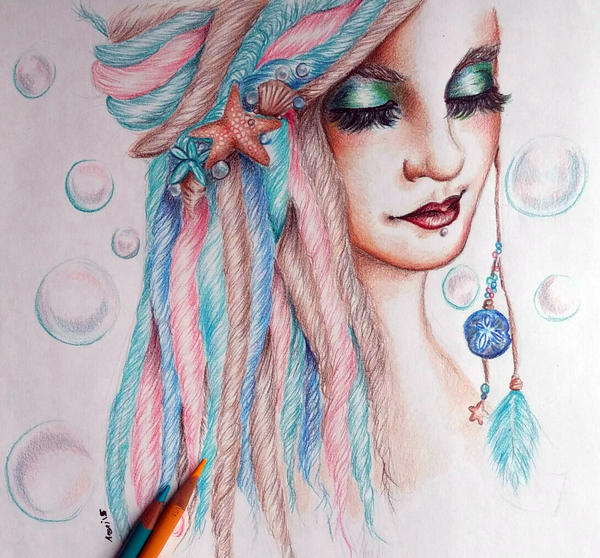 Beach girl colored pencil portrait by wideyedkitten11 on ...