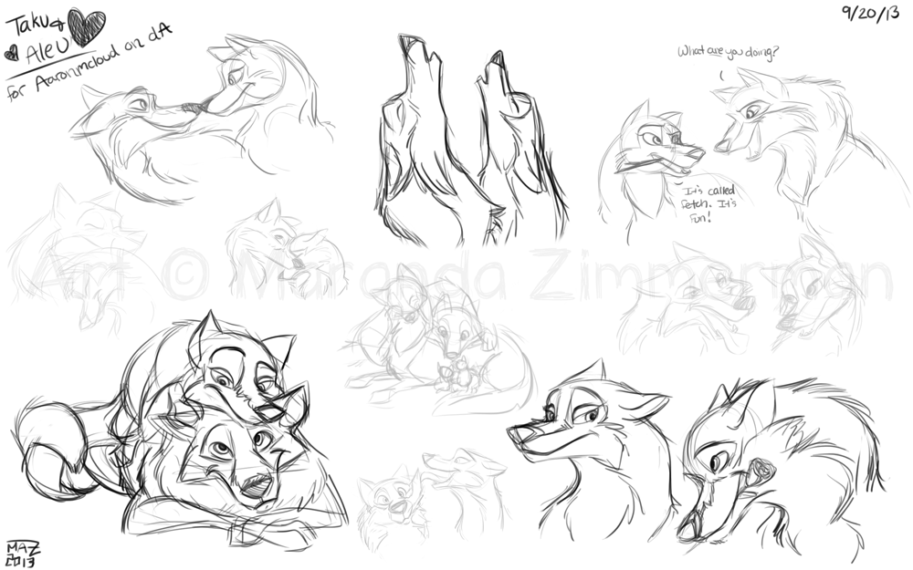Aleu and Taku sketches by Coloran