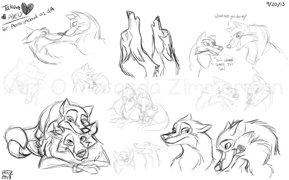 Aleu and Taku sketches by Coloran
