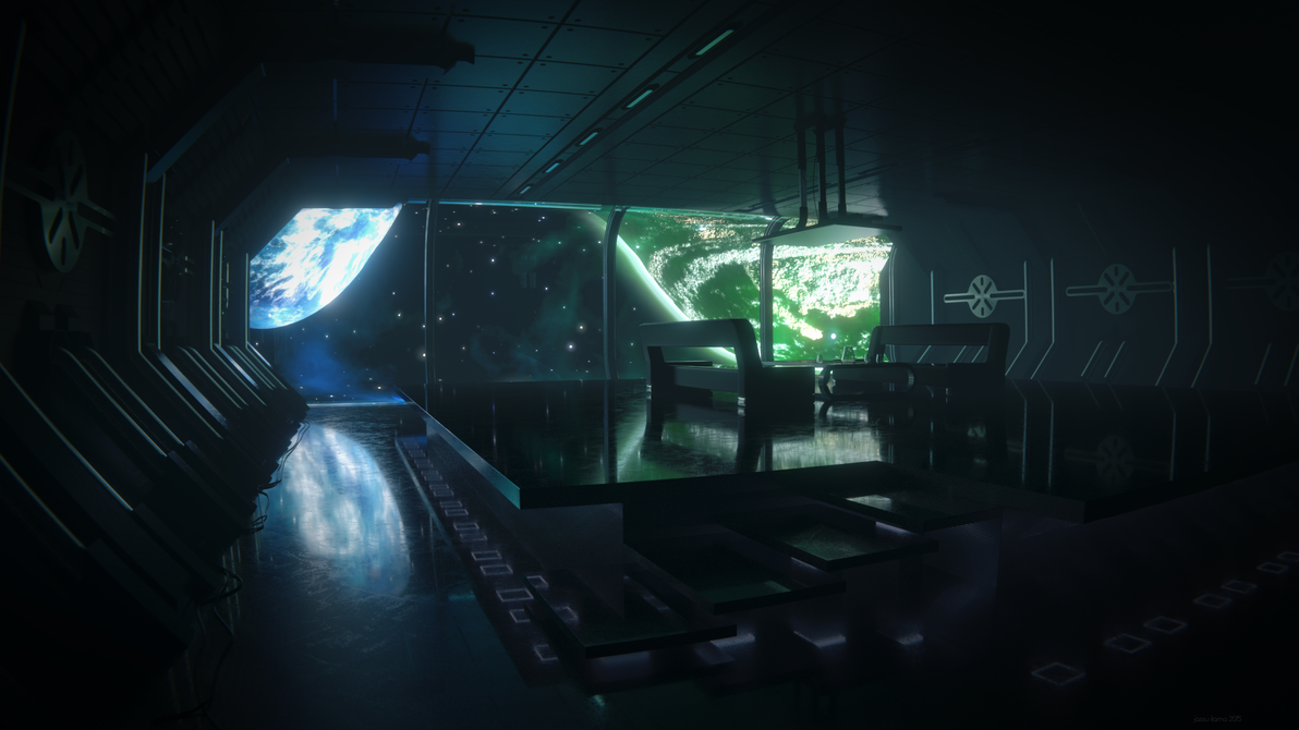 Scifi room in space by oblyz on deviantart for Space wallpaper for rooms