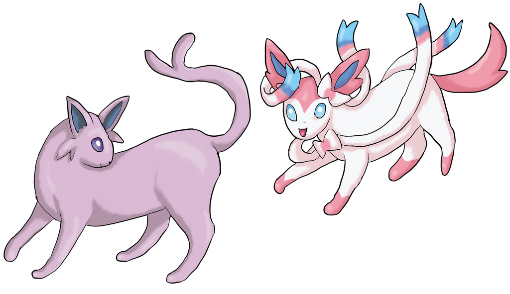 Espeon and Sylveon by Cinnamon-Quails on DeviantArt