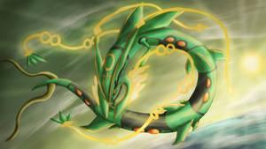 Mega Rayquaza by Cinnamon-Quails