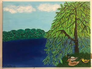 Weeping willow on a lake