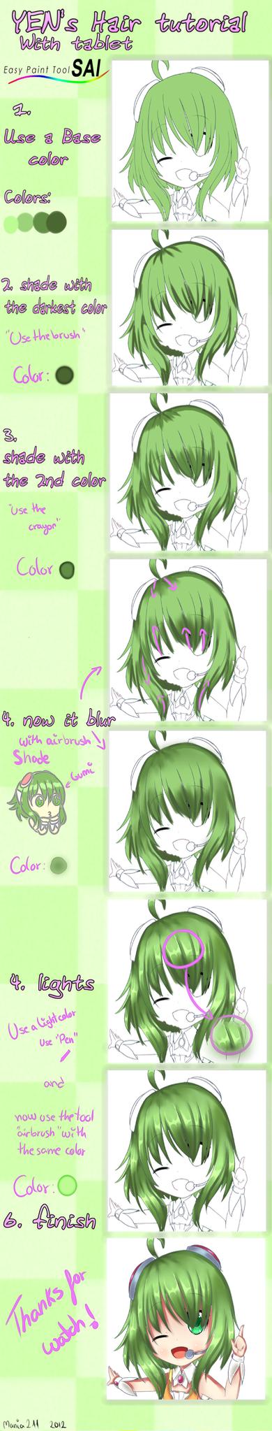 Sai Tutorial : Hair color by Yen-mi
