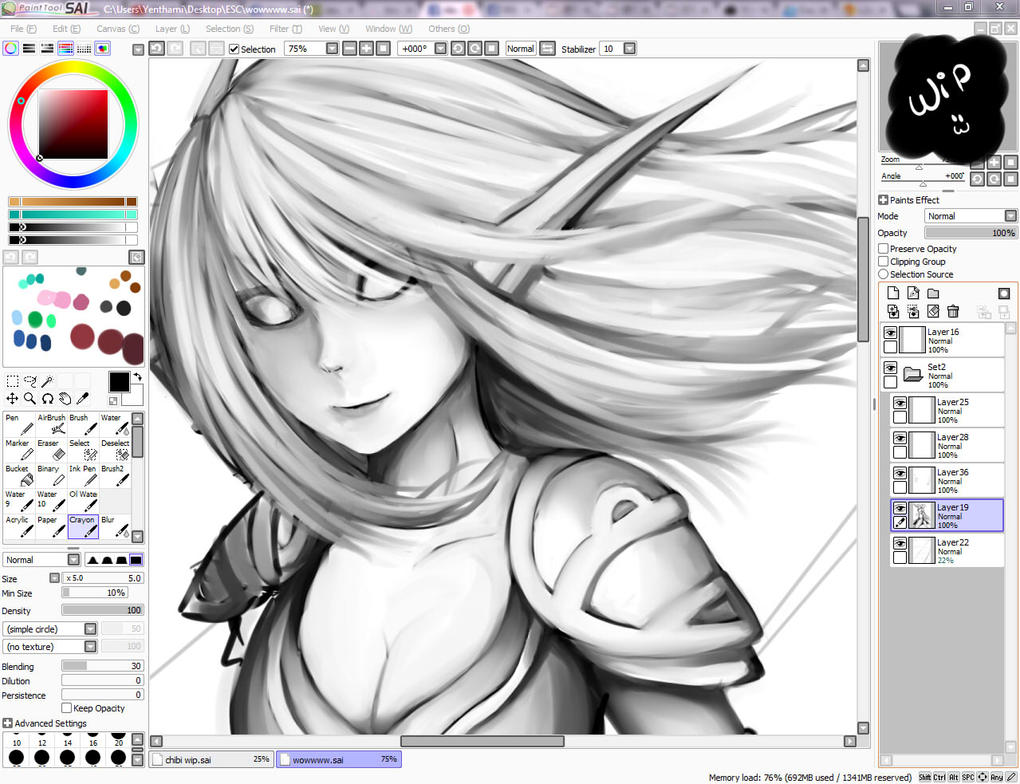 WIP art : World of Warcraft blood elf by Yen-mi