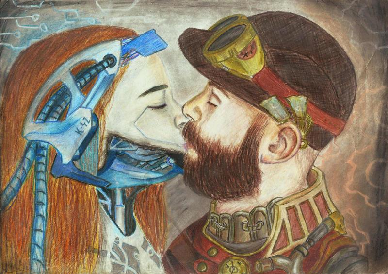 Cyberpunk + Steampunk kiss by Kva-Kva