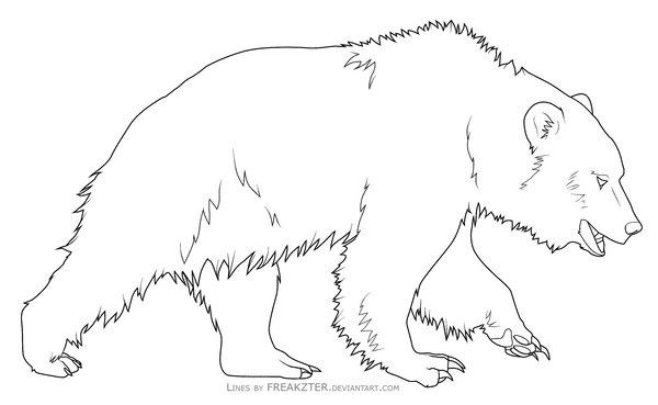 Line Art Bear : Bear lines by freakzter freebies on deviantart