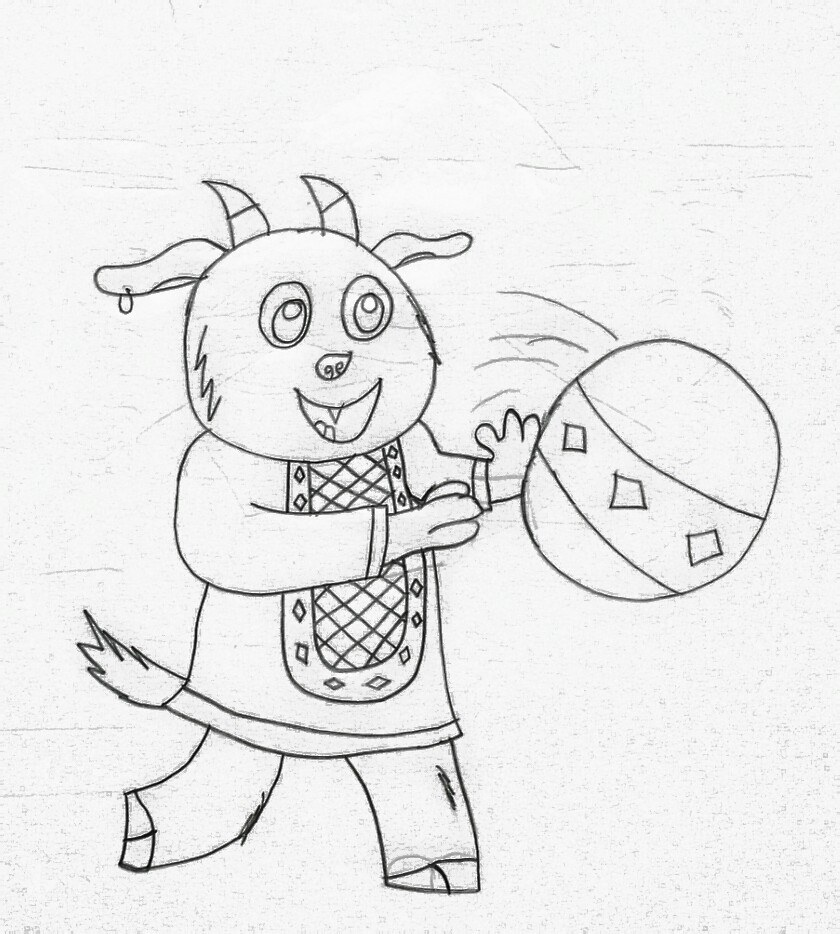 Little Goat Playing With Bouncy Ball by stunter101