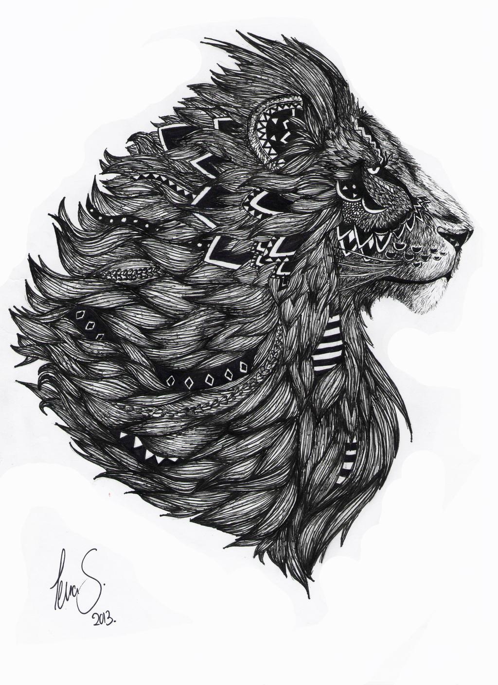 Lion Drawing by dotz-ART on DeviantArt