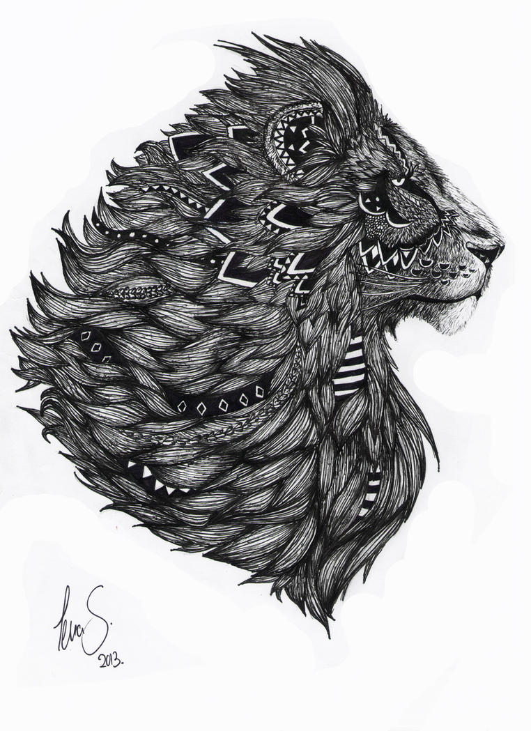 Lion Drawing By Dotz ART