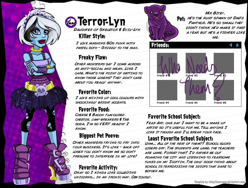 MH Bio: Terror Lyn by SnowFright