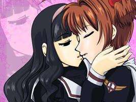 Sakura and Tomoyo kiss by yahiko-li