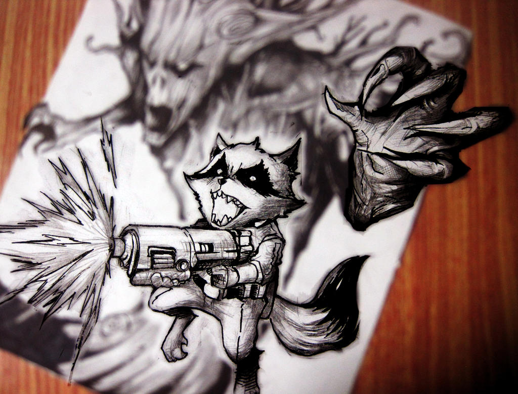 [GotG]Groot and Rocket racoon by bmad95