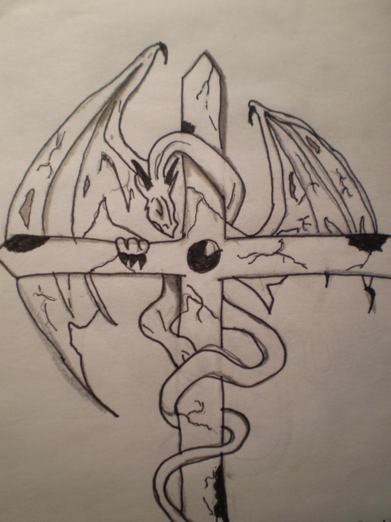 Dragon on a cross by Hoshi88