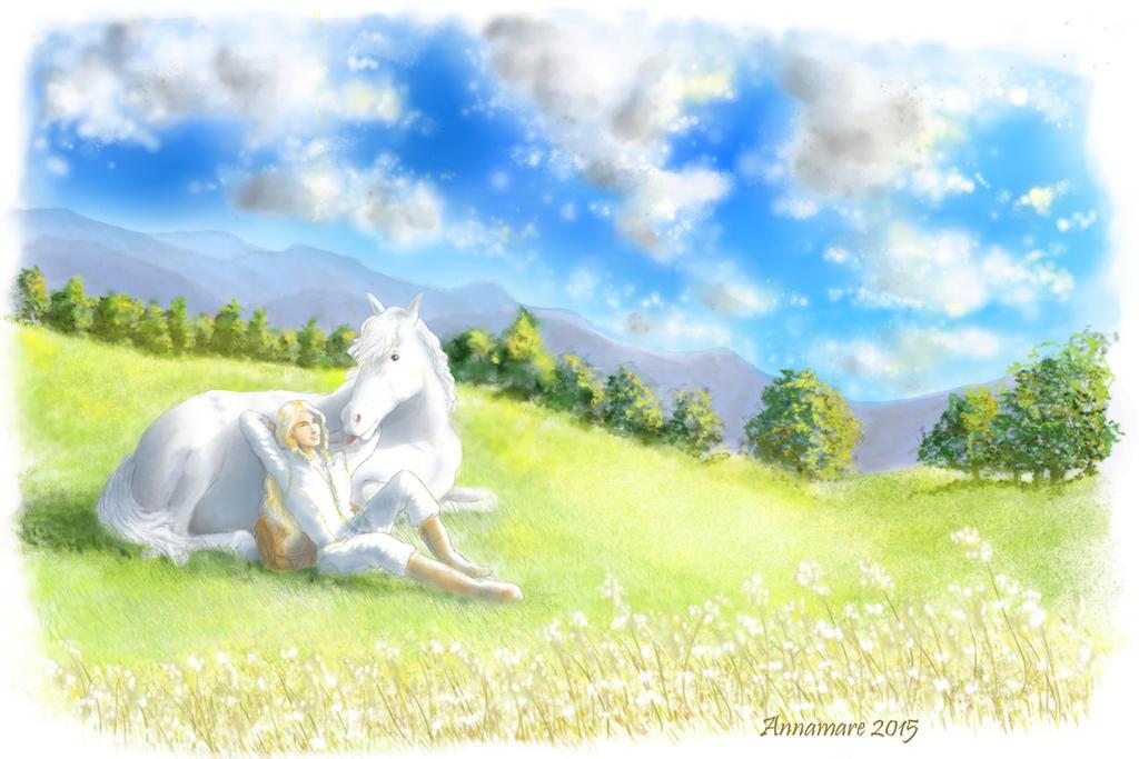 The horse and his elf by AlystraeaArt