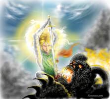Glorfindel battles the Balrog (WIP) by annamare