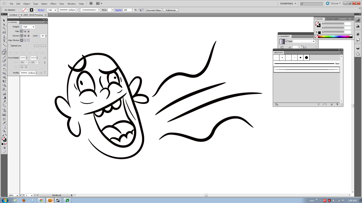 Line Art Using Illustrator : Creating a line art brush inside illustrator by