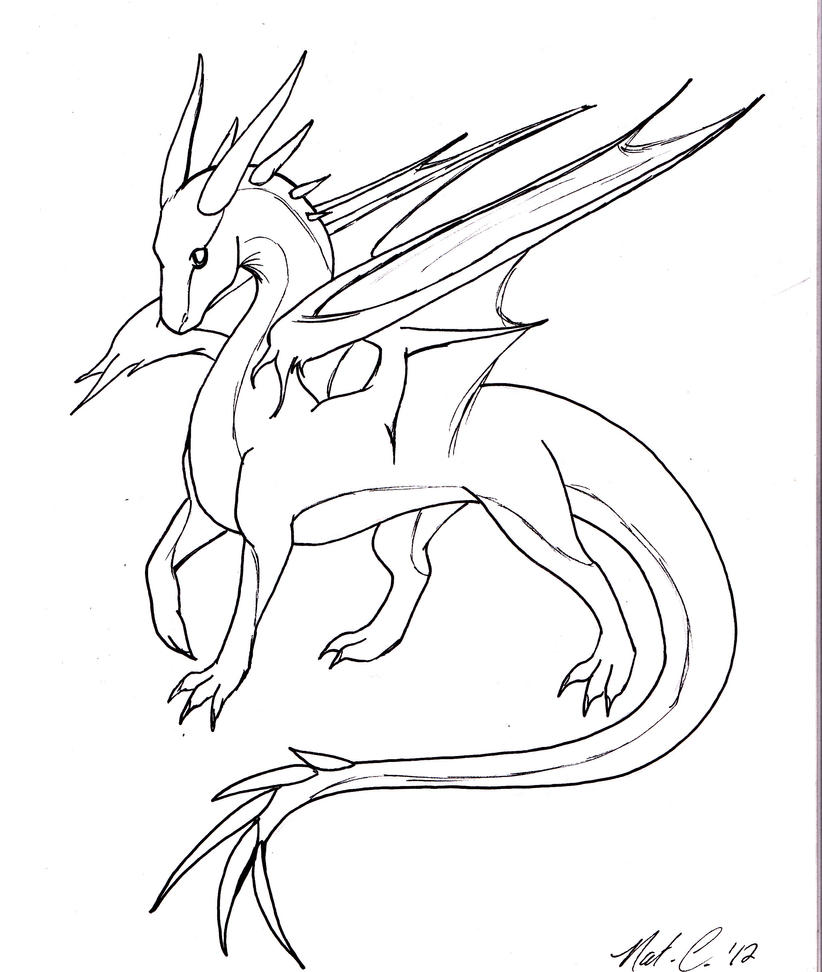 D Line Drawings Quest : Dragon lineart by fantasy coolcat on deviantart