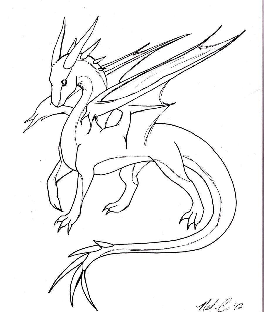 Line Art Work : Dragon lineart by fantasy coolcat on deviantart