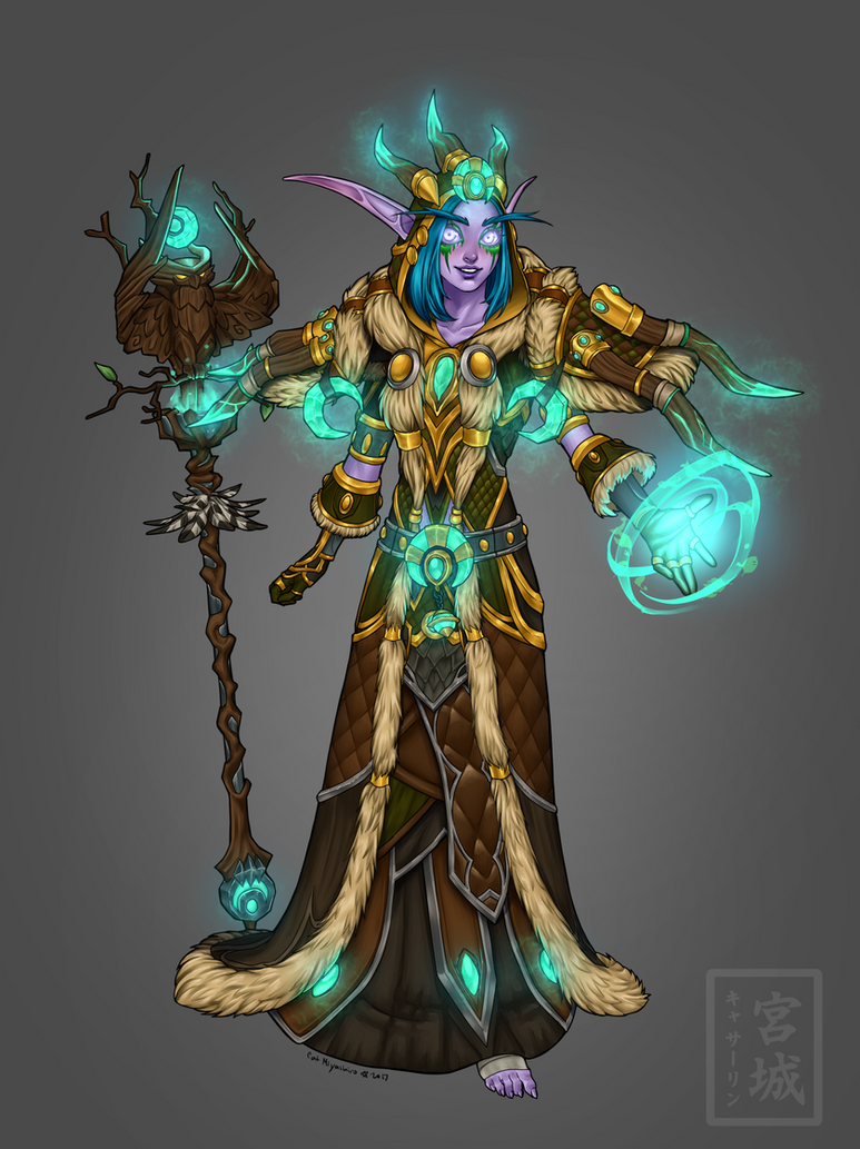 Lined Painted Druid WoW Commission by KittyCatKissu