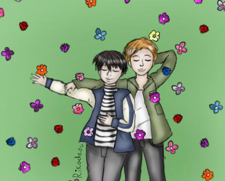 Laying with flowers by Rikadesu