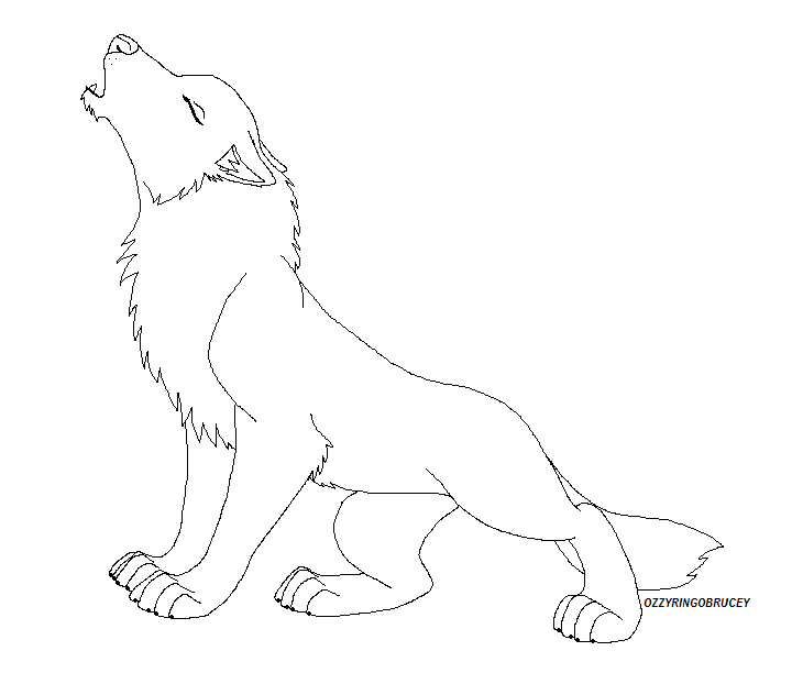 Free Lineart - Wolf Howl by Howling Wolf Lineart