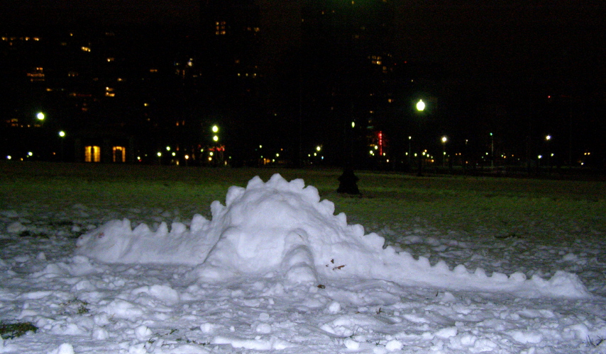 Ann Arbor snow day begets snow dinosaur