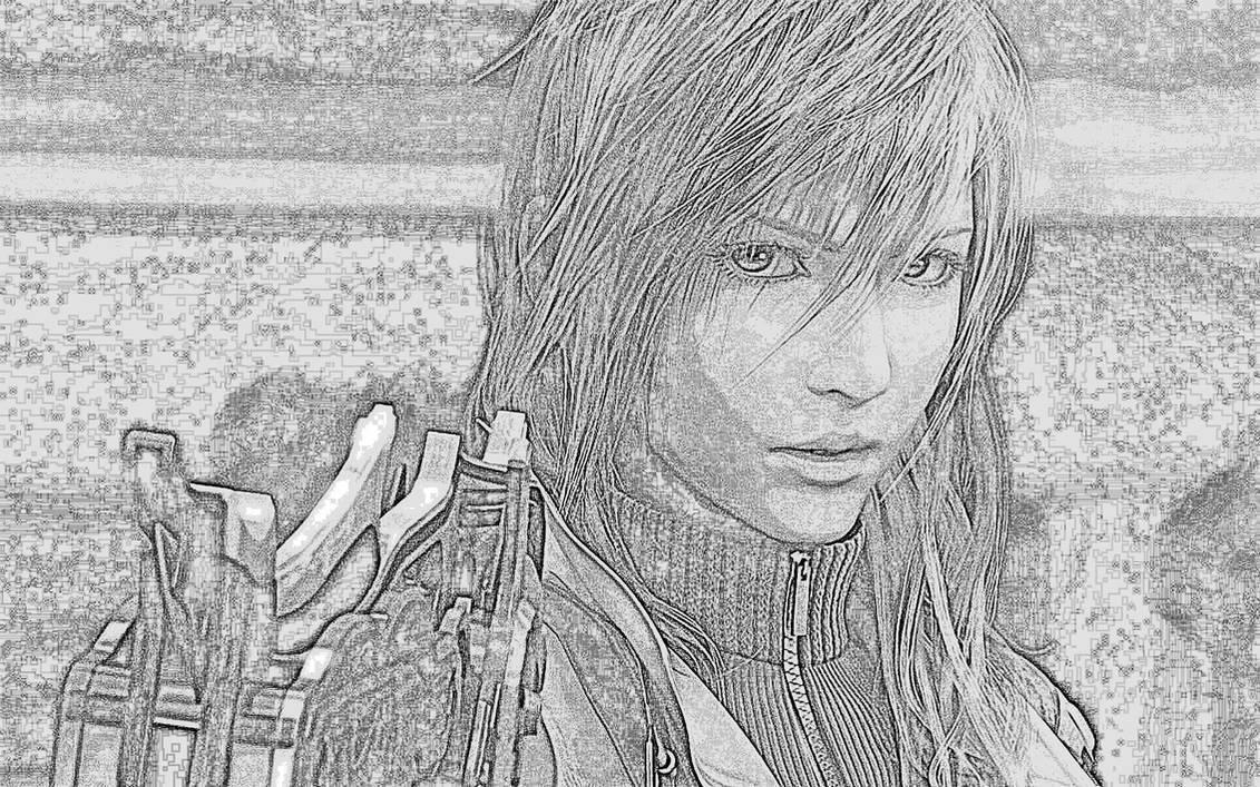 Final fantasy pencil sketch effect by ben255525