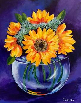 Sunflowers in Glass Vase