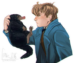 Magizoologist and his Niffler by Fennethianell